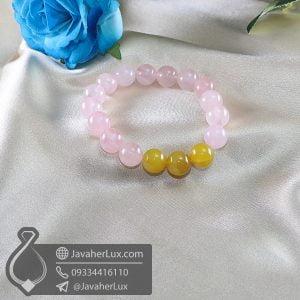 دستبند سنگ رز کوارتز و عقیق زرد _ کد : 400671