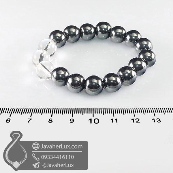 دستبند سنگ حدید صینی و دُر _ کد : 400668