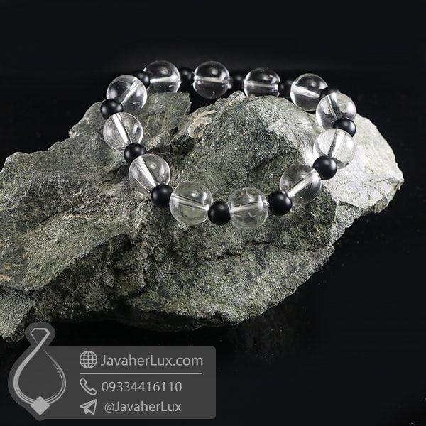 دستبند کریستال کوارتز و لاوا _ کد : 400702   دستبند سنگ   دستبند زنانه   خرید دستبند