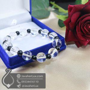 دستبند کریستال کوارتز و لاوا _ کد : 400702 | دستبند سنگ | دستبند زنانه | خرید دستبند
