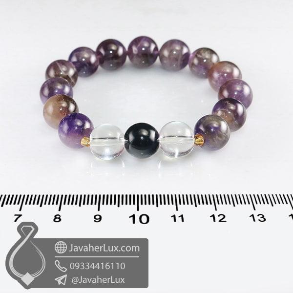 دستبند آمتیست و عقیق سیاه و دُر _ کد : 400703