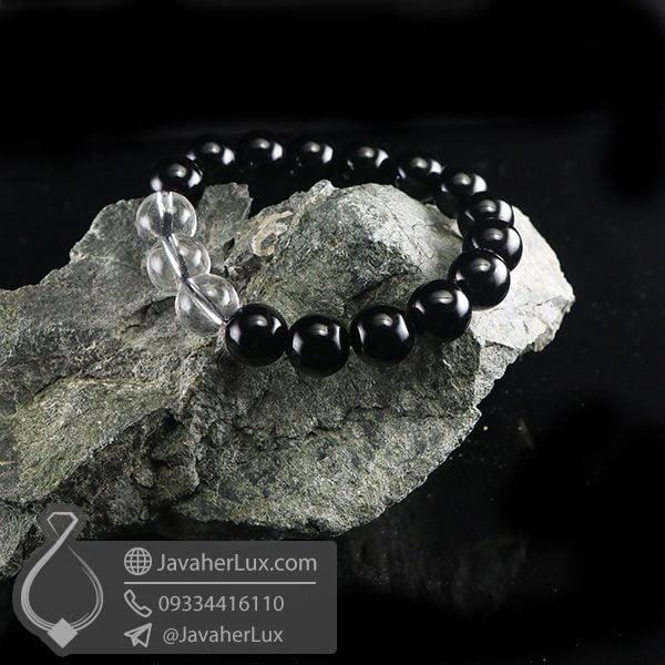 دستبند عقیق سیاه و دُر _ کد : 400692