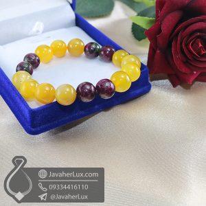 دستبند عقیق زرد و روبی زئوسیت _ کد : 400690