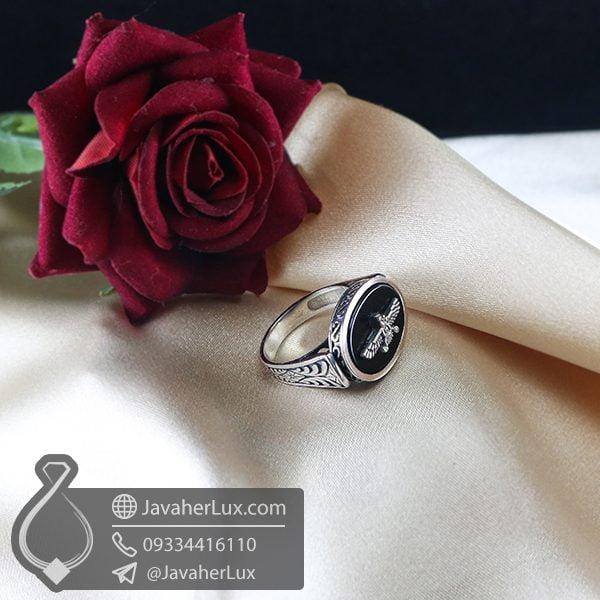 انگشتر نقره مردانه عقیق سیاه _ کد : 100726