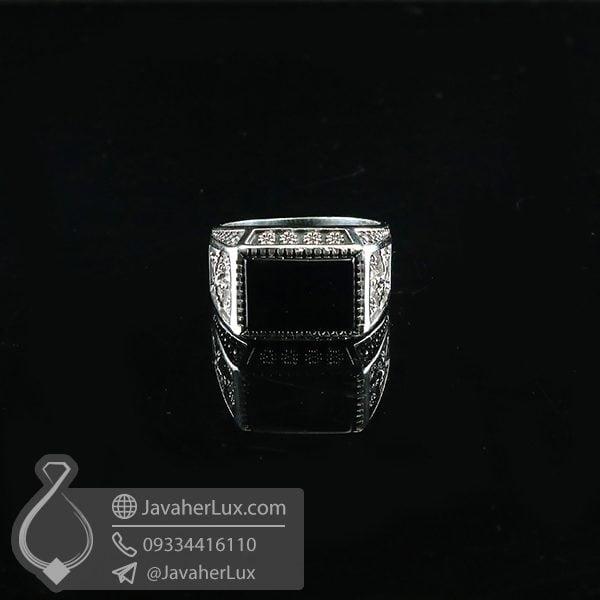 انگشتر نقره مردانه عقیق سیاه طرح فروهر _ کد : 100719