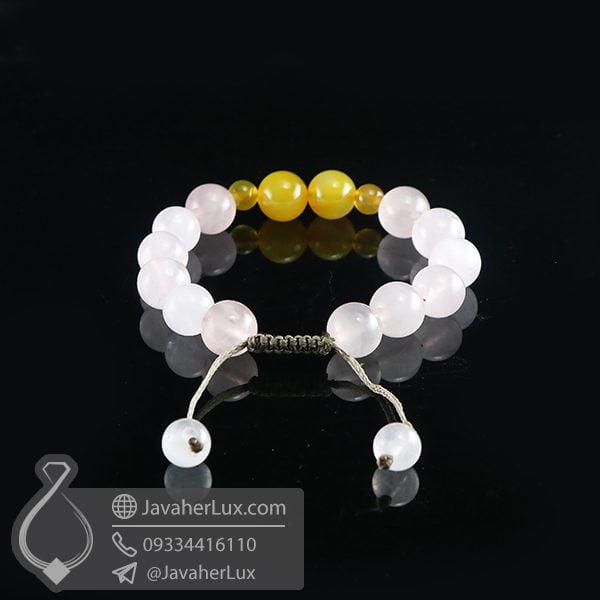 دستبند بافت رز کوارتز و عقیق زرد _ کد : 400709