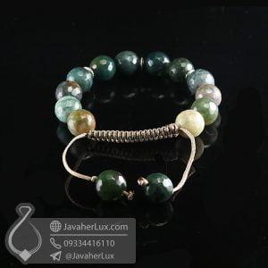 دستبند بافت عقیق خزه ای _ کد : 400717