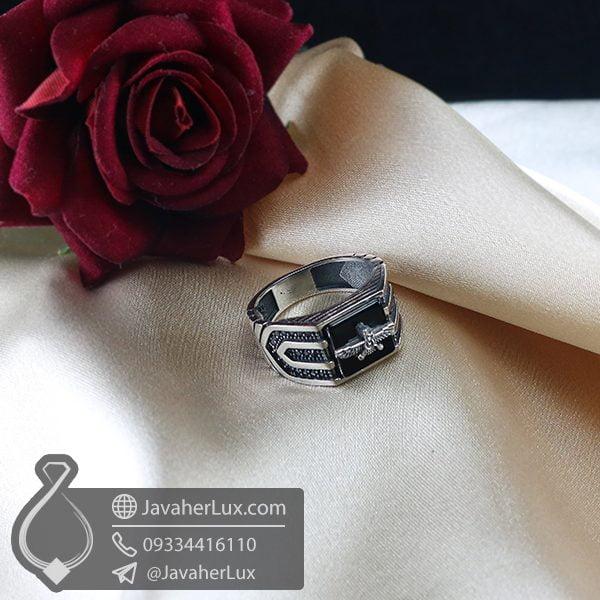 انگشتر نقره مردانه عقیق سیاه فروهر _ کد : 100736