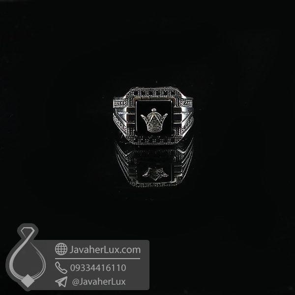انگشتر نقره مردانه عقیق سیاه تاج پادشاهی _ کد : 100737
