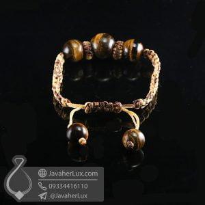 دستبند بافت سنگ چشم ببر _ کد : 400718