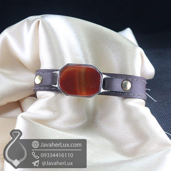 دستبند چرم عقیق قرمز _ کد : 400777