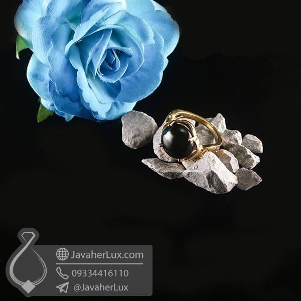 انگشتر نقره زنانه عقیق سیاه _ کد : 100752