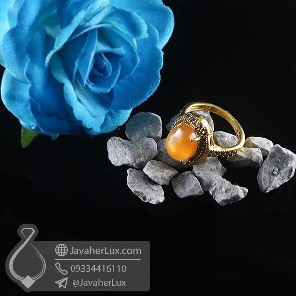 انگشتر نقره زنانه عقیق یمنی _ کد : 100760 | انگشتر زنانه | انگشتر عقیق یمنی | انگشتر نقره