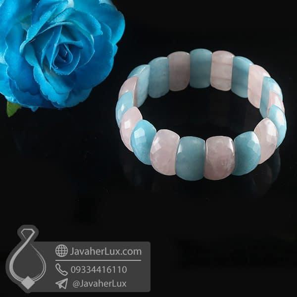 دستبند سنگ آکوامارین و رز کوارتز _ کد : 400801