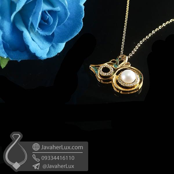 گردنبند نقره زنانه مروارید _ کد : 100779 | گردنبند زنانه | گردنبند نقره | گردنبند زبرجد